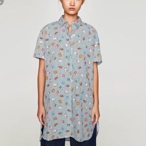 Zara Book-Print button up blouse